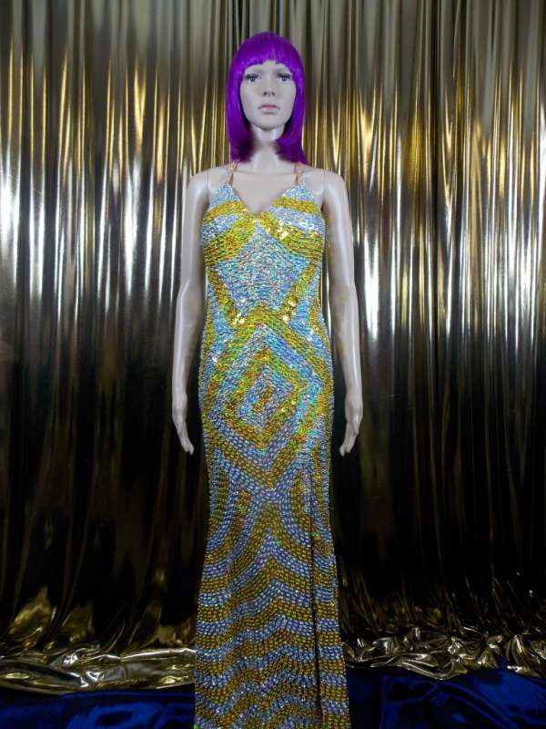 floor length sequined gown